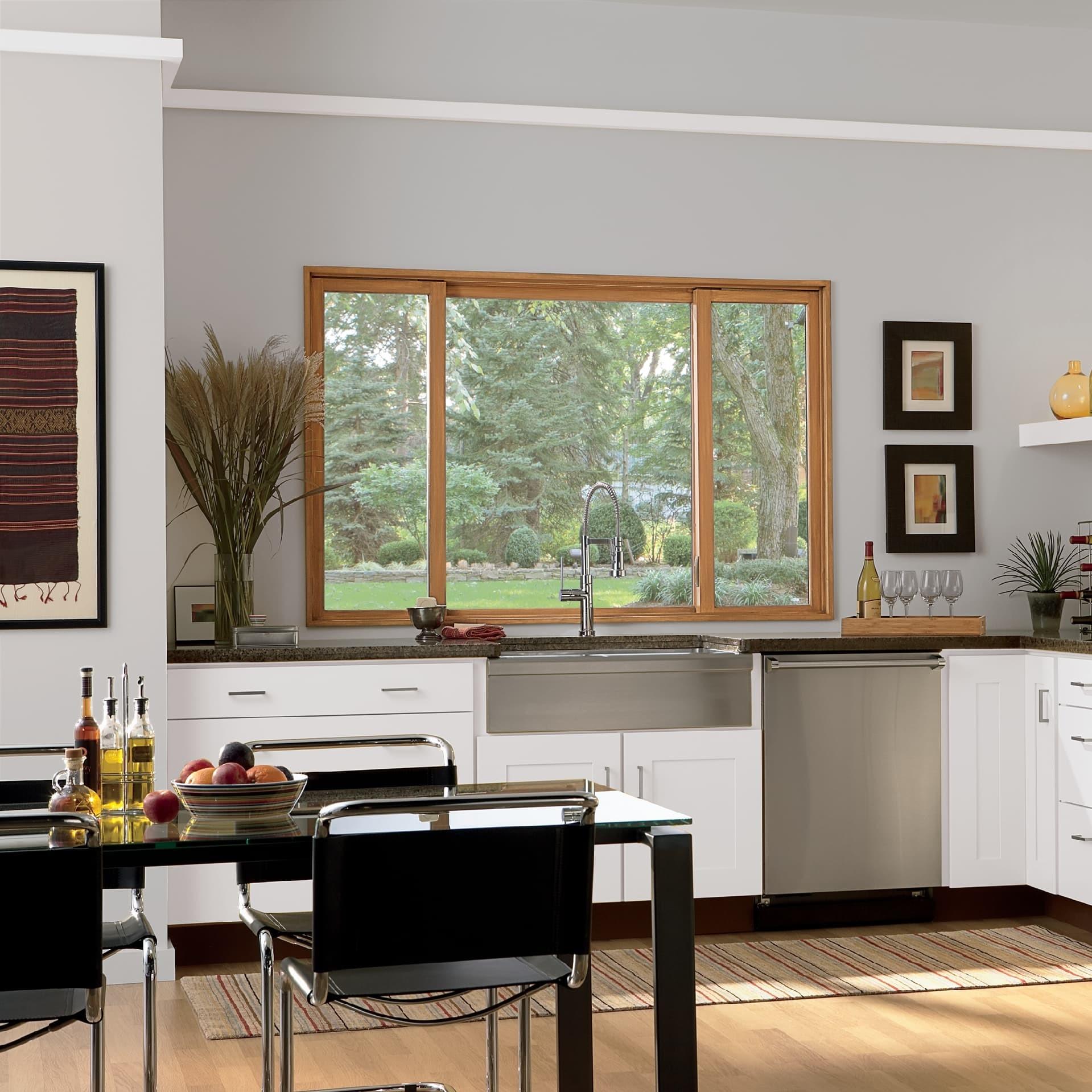 Wood glider window in kitchen