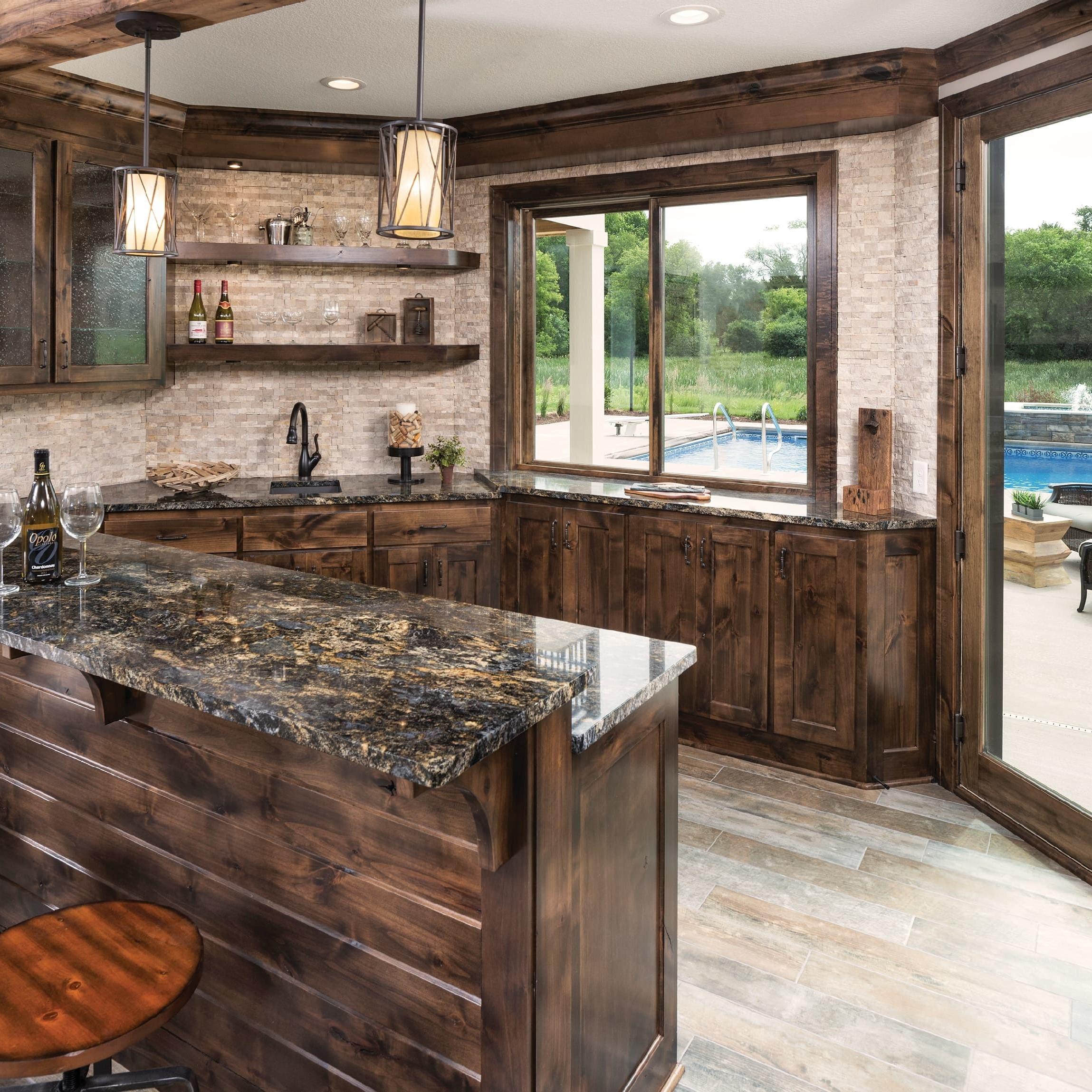 Glider/sliding window in wood-themed kitchen