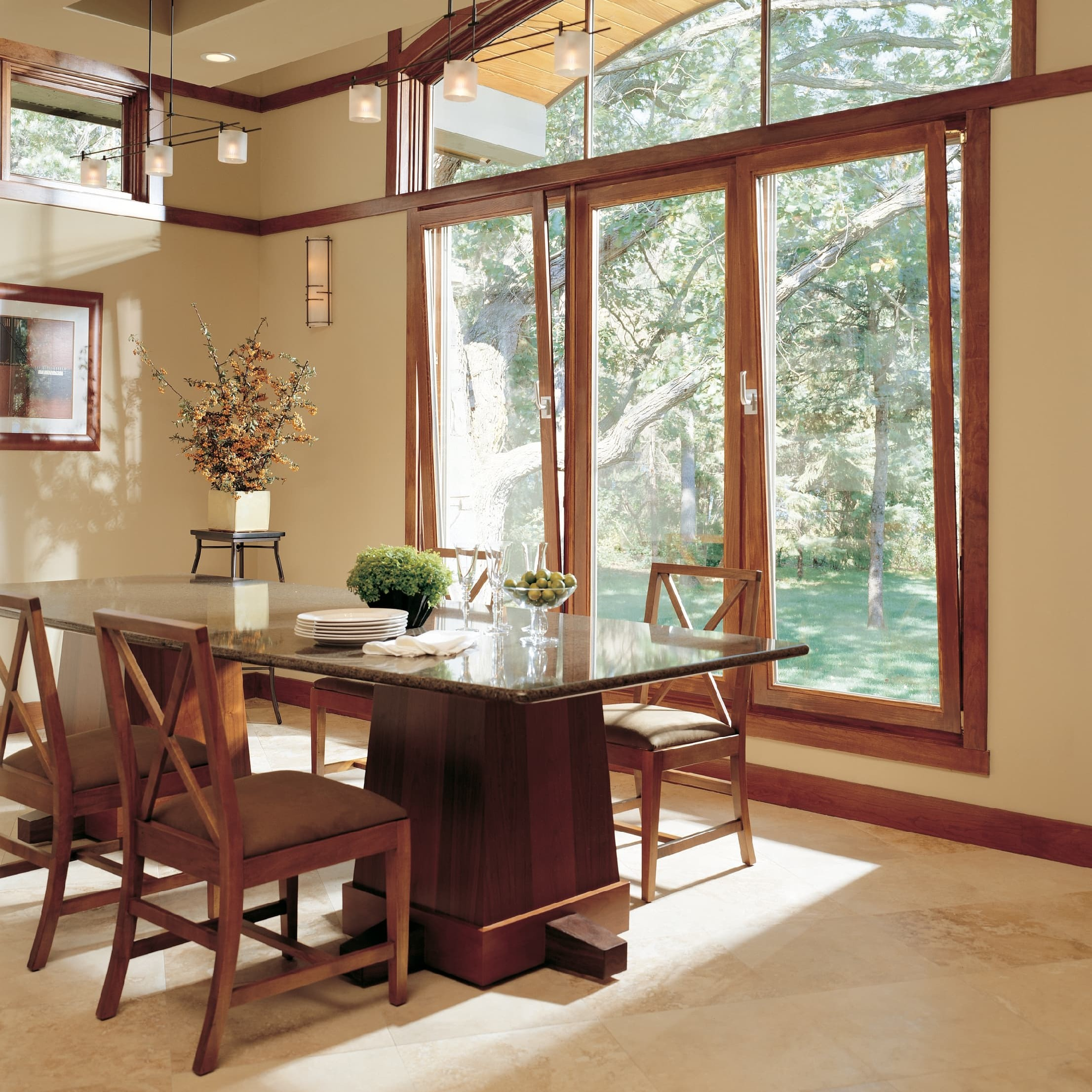 Wooden tilt turn windows in dining room