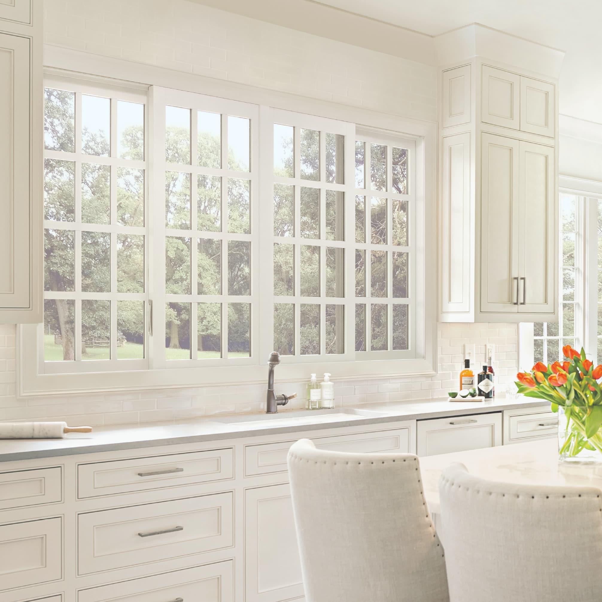 White glider/sliding window in kitchen