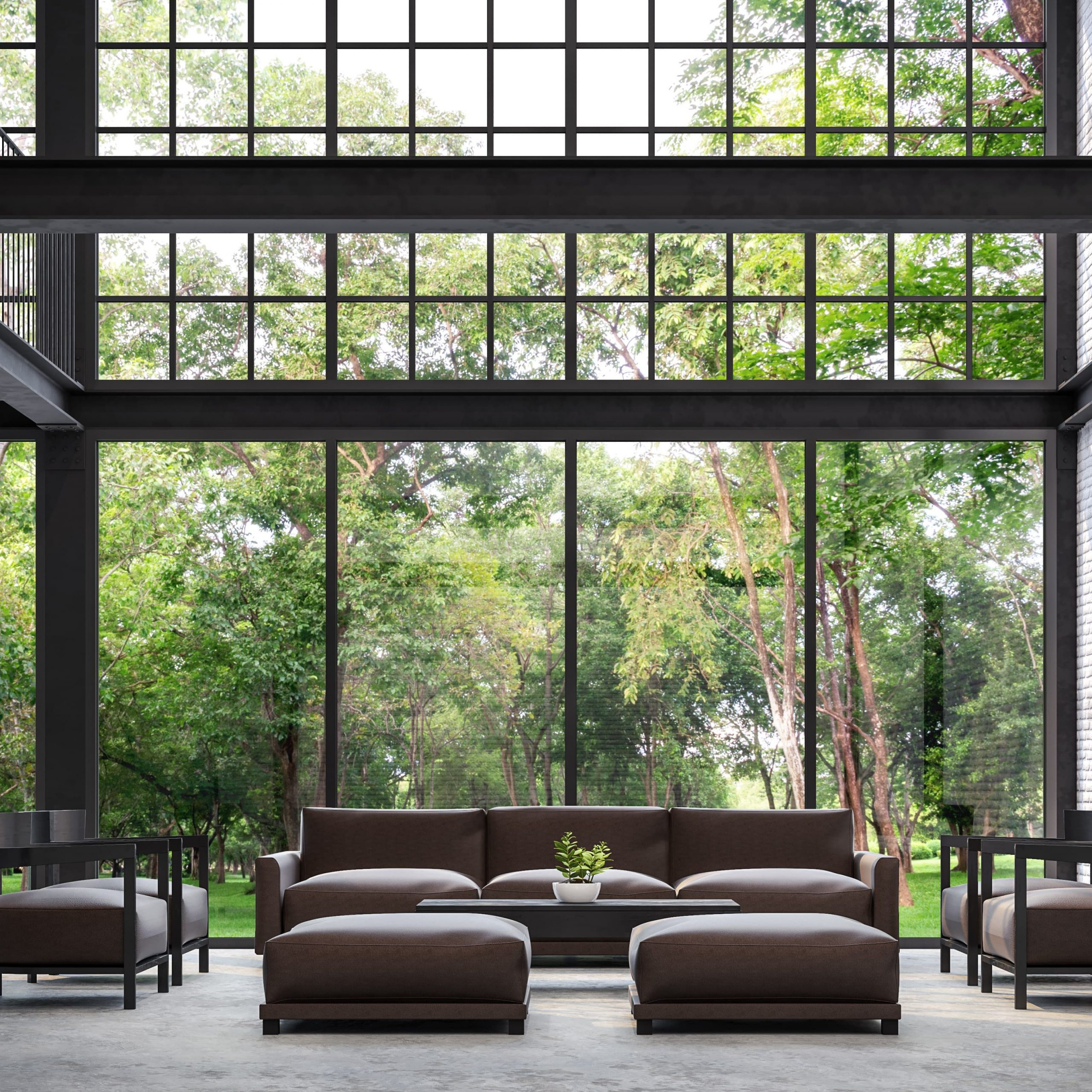 Steel windows in living room
