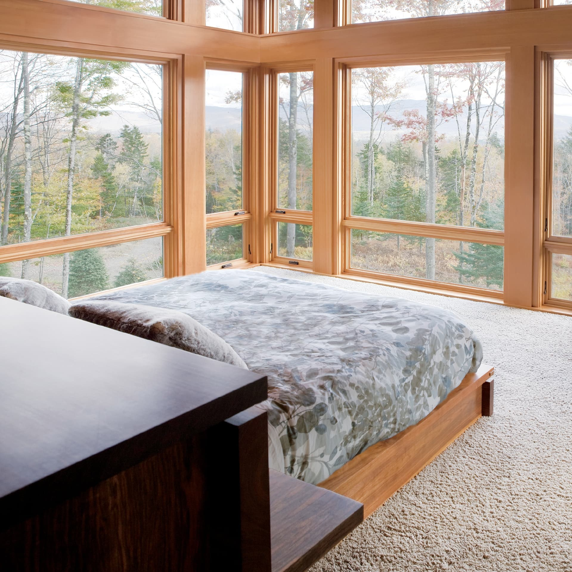 Wooden awning windows in bedroom