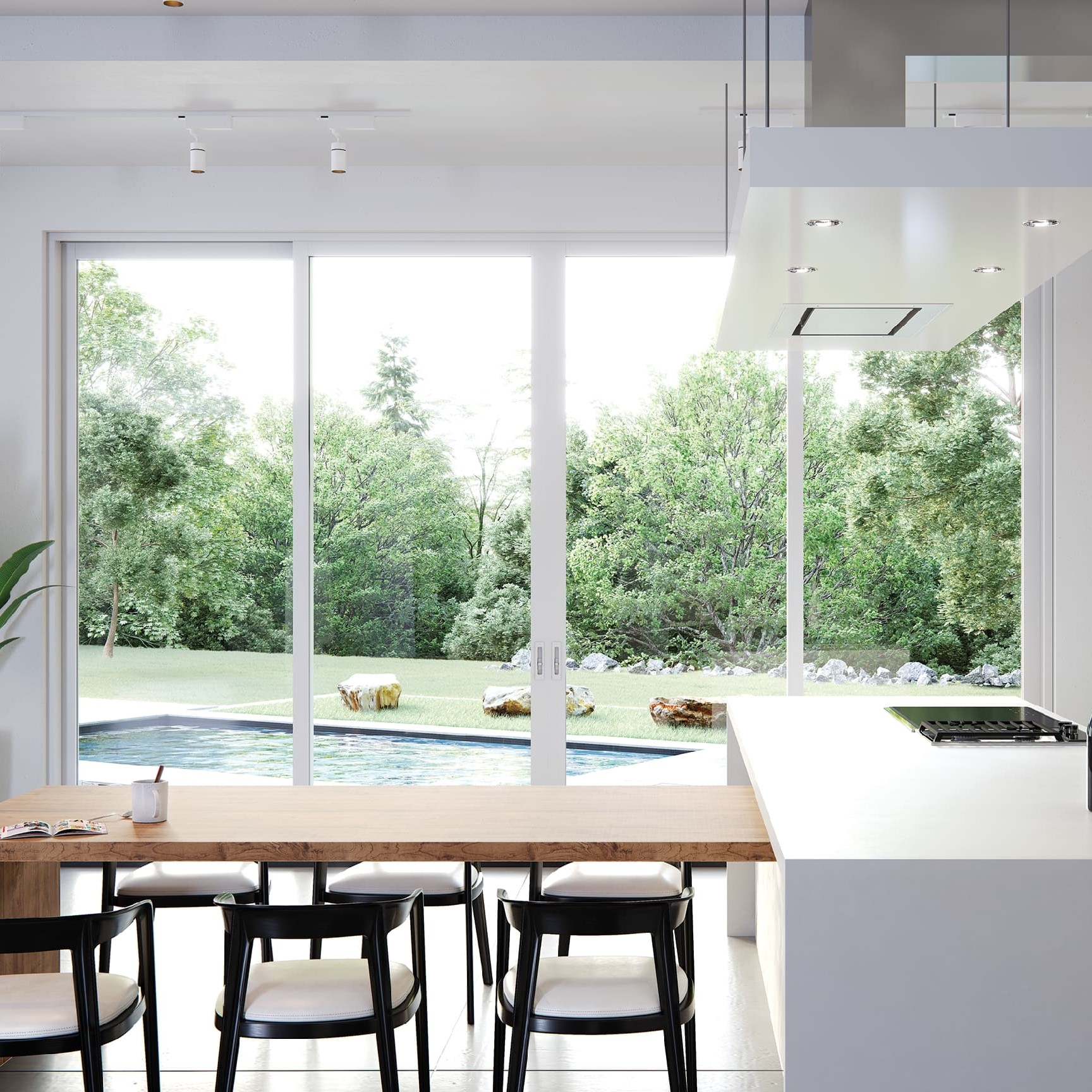 Sliding glass patio door in dining room leading to backyard