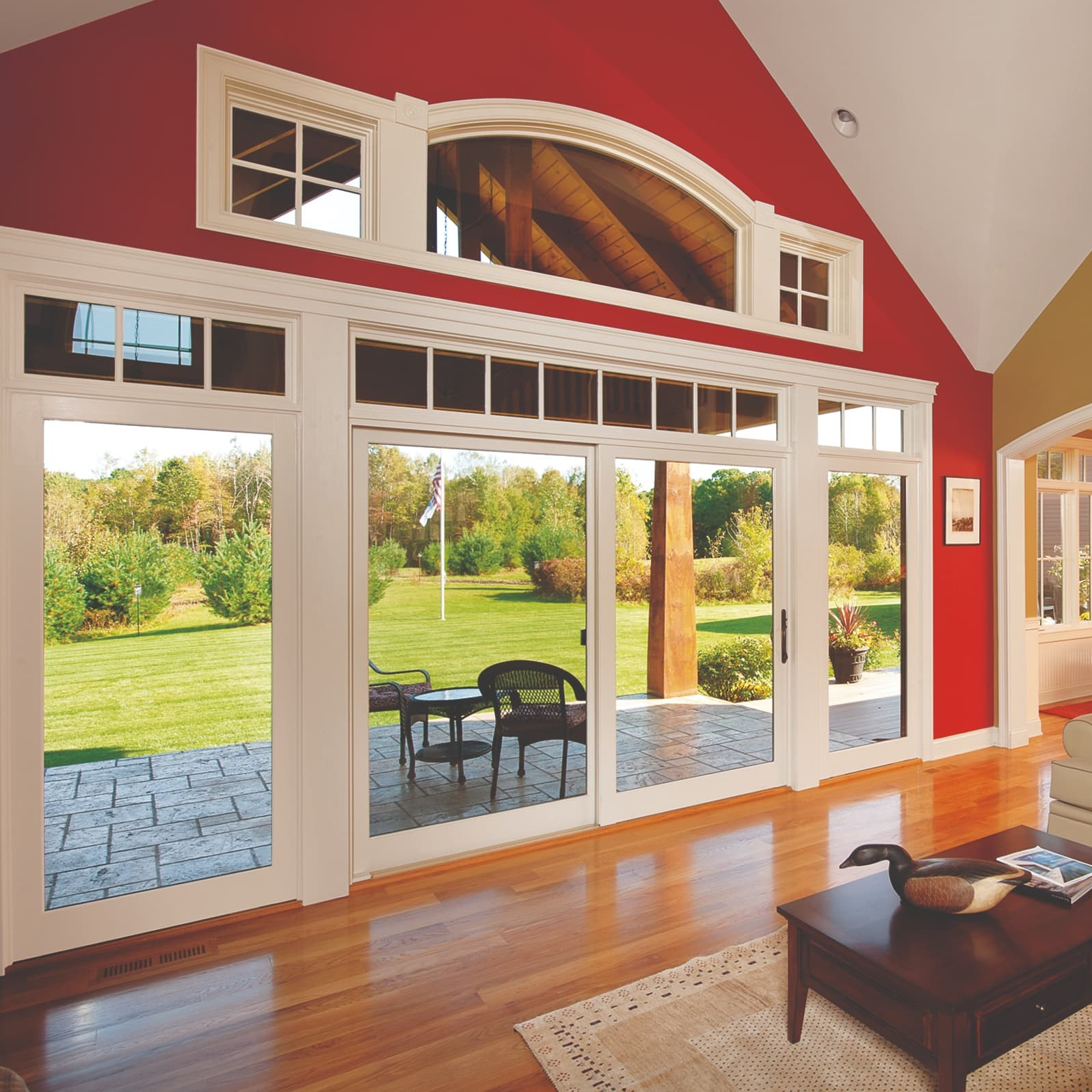 Sliding patio door in barn-style house