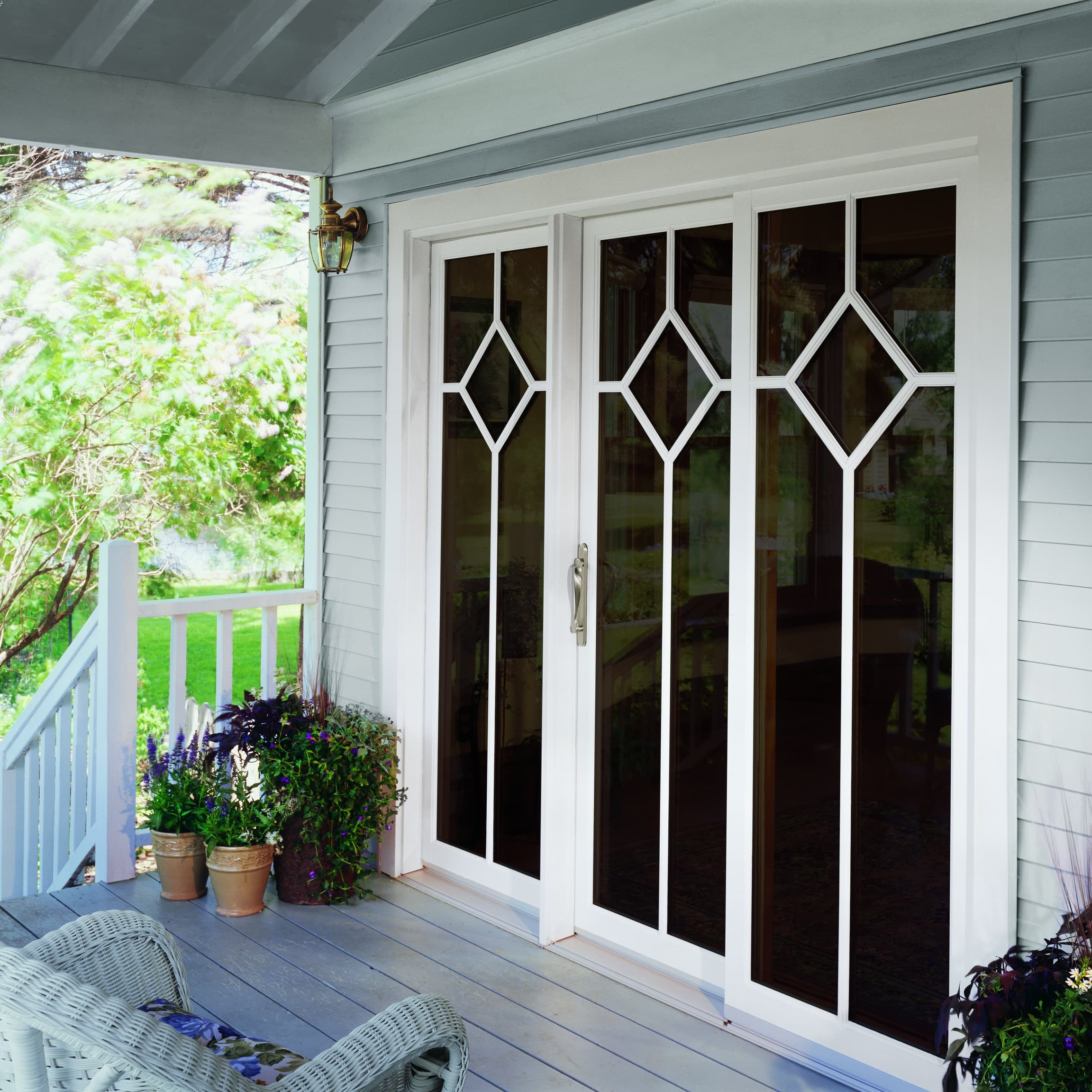 External photo of sliding patio door from porch