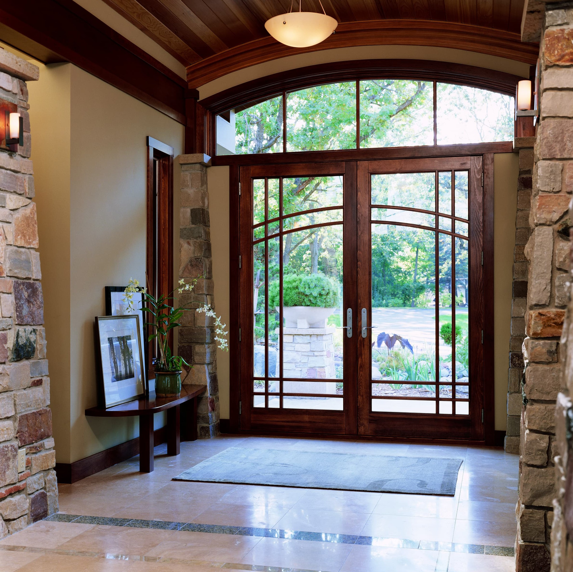 Interior photo of wooden swinging patio doors