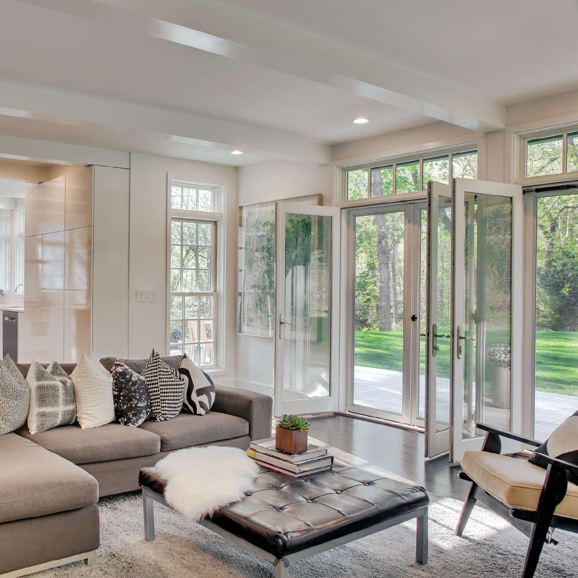 Interior photo of white swinging patio doors
