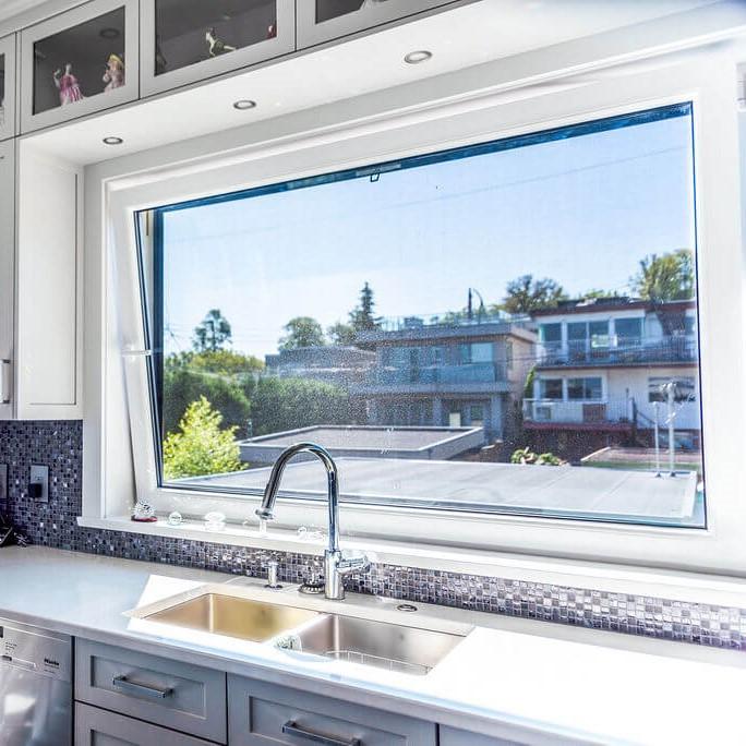 EuroLine window in kitchen over skin with outdoor view