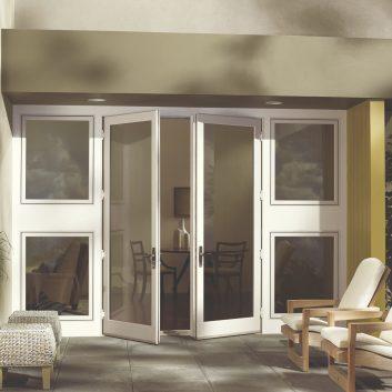 Swinging patio door in white