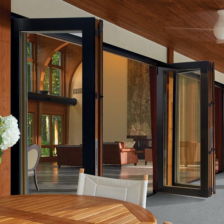 Bi-fold scenic doors opened into patio area