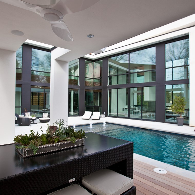 Large scenic doors in pool area