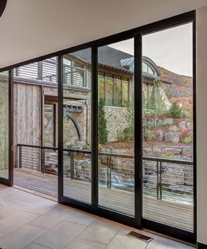 Sliding patio door with black frame
