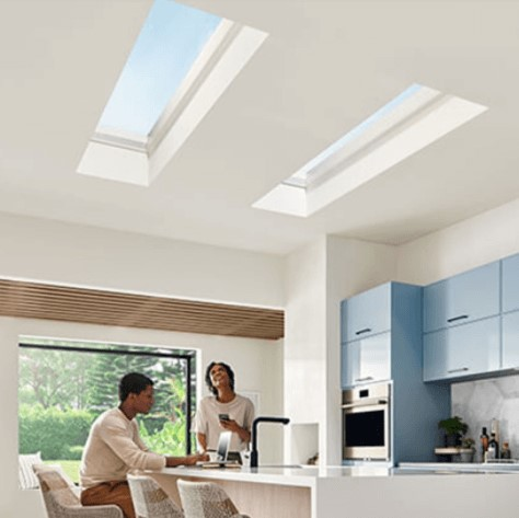 Marvin skylights in kitchen allowing natural light into the room