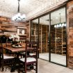 Interior view of a wine cellar with Euroline doors