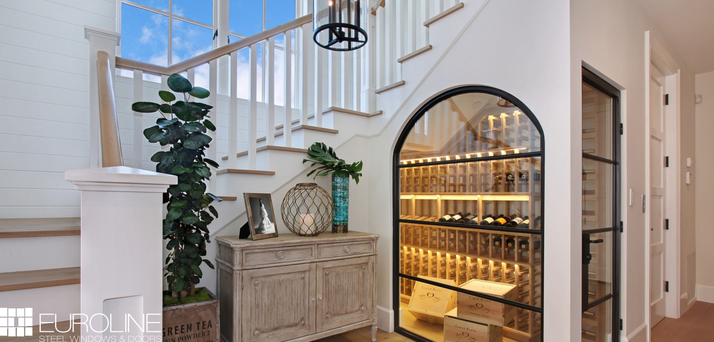 Interior view of a wine cellar with Euroline windows and doors